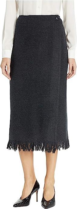 Fringed Wool Wrap Skirt