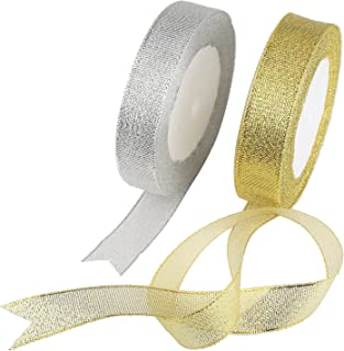 Organza Ribbon,KAKOO 2 Pack 25 Yard 20mm Wide Glitter Trimmings Decorative Ribbons for Gift Wrapping (B-Gold&Silver)