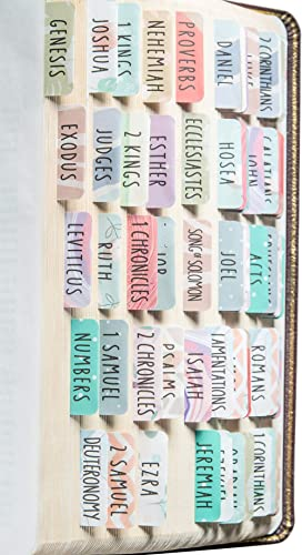 DiverseBee Laminated Bible Tabs (Large Print, Easy to Read), Personalized Bible Journaling Tabs, 66 Book Tabs and 14 ...
