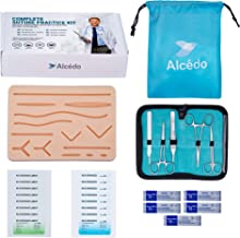 Suture Practice Kit for Medical Students by Alcedo | Include Durable Large Suturing Pad with Pre-Cut Wounds, Tools Kit, and Suture Threads (28 Pieces) | Perfect for Practice, Demonstration, Teaching