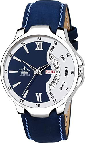 Day And Date Functioning Quartz Wrist Watch For Men With Brass Dial Leatherite Strap ALS2821