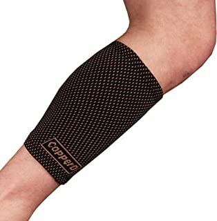Copper D Copper Compression Calf Sleeve - Rayon from Bamboo Charcoal Copper Infused Calf Support Brace - Size Small - Medium - Black Copper Dots - 1 Pack