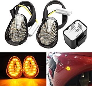 Turn Signal Indicator Light Amber LED Flush Mount + 2 Pin Electronic Adjustable Flasher Relay for Yamaha YZF R1 R3 R6 R6S FZ6 FZ1 FZ Fazer FZ6R FZ07 FZ8 FZ09 TMAX MT-07 MT-09 Smoked Lens