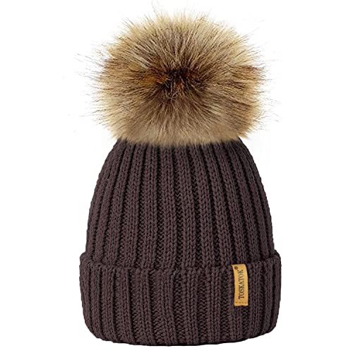 694411a695c TOSKATOK®Womens Winter Rib Knitted Hat Beanie with Detachable Chunky Faux  Fur Bobble Pom