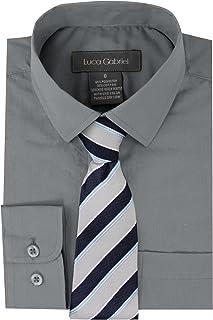 21d44ff3c843dd Luca Gabriel Toddler Boy's Long Sleeve Formal Button Down Dress Shirt & Tie  Set