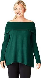 Jessica London Women's Plus Size Off The Shoulder Cotton Cashmere Sweater