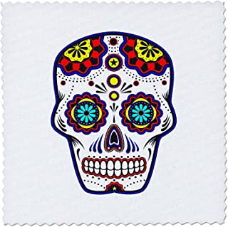 3dRose Sugar Skull, Red, Blue and Yellow - Quilt Square, 6 by 6-Inch (qs_186237_2)