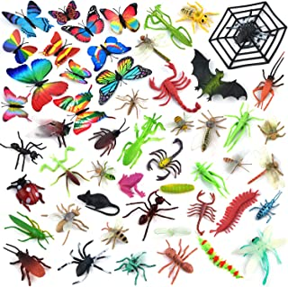 Coopay 51 Pieces Plastic Insect Figures Toys Assorted Insect Bugs Includes Multicolored Lifelike Butterfly for Children Education, Insect Themed Party, Halloween Toys and Birthday Gifts