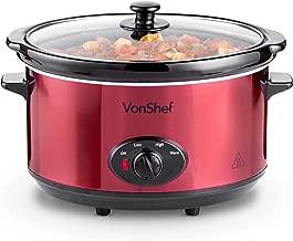 VonShef - Cocina lenta con tapa de cristal (6,5 L, acero inoxidable)