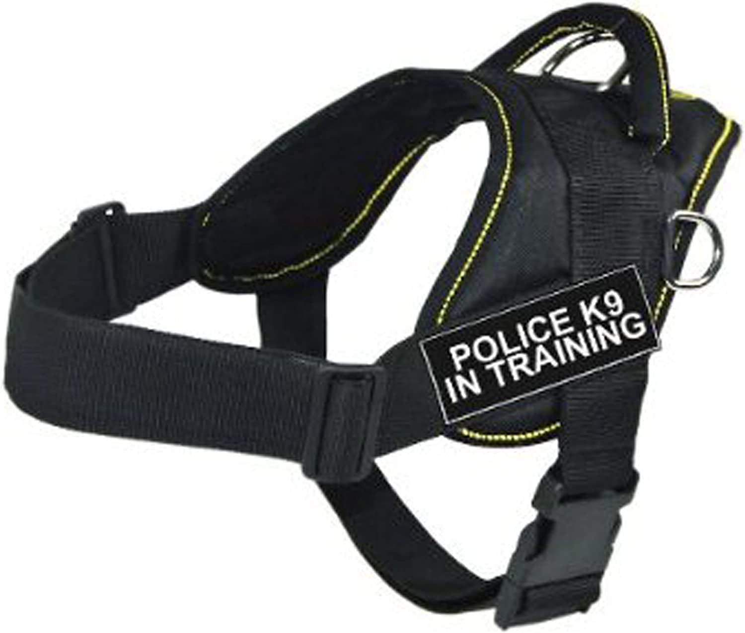 Dean & Tyler Fun Works Harness, Police K9 In Training, Black with Yellow Trim, Large, Fits Girth Size  32Inch to 42Inch