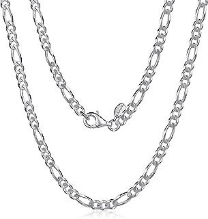 Amberta Collana da Uomo in Argento Sterling 925 Rodiato - Catena Modello Figaro 3.9 mm - Lunghezza: 46 50 55 60 65 70 (cm)