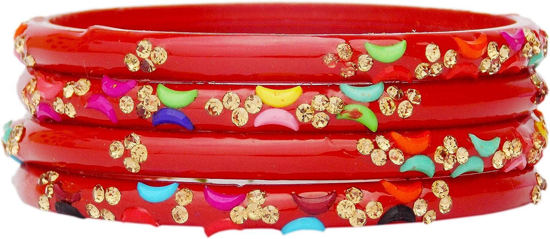 JD'Z COLLECTION Indian Ethnic Wedding & Partywear Bracelet Kada Bangles Set Glass Bangles Set