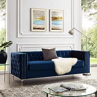 Giovanni Navy Velvet Sofa