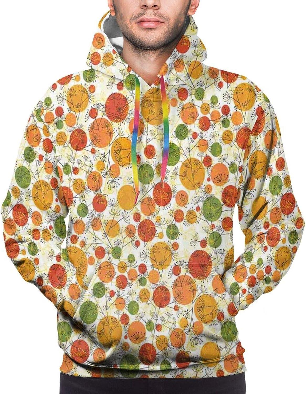 TENJONE Men's Hoodies Sweatshirts,Flowers On Lines Doodle Style Garden with Heart Motifs Valentines Day Pattern
