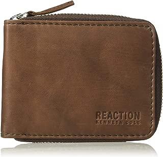 Kenneth Cole REACTION Men's RFID Blocking Bifold Zip Around Wallet with Coin Pocket , -brown, One Size