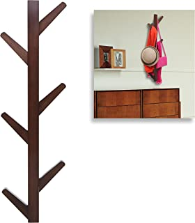 Modern Brown Bamboo Wall Mounted 6 Hook Hanging Storage Organizer, Entryway Coat & Hat Rack