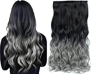 Beautyself Clip in Hair Extensions One Piece Color Ombre 3/4 Full Head Long Curly Wave Hair 5 Clips Hair Pieces Women 125g Off Black to Silver Grey(#1BT171)