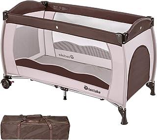 TecTake Kinderreisebett mit Schlafunterlage und praktischer Transporttasche - diverse Farben - Coffee | Nr. 402417