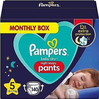 Pampers Baby-Dry Night Luierbroek Maat 5, 140 Luiers 12kg-17kg, Pampers Night Pants Bieden Extra Bescherming De Hele Nacht...