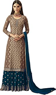 Fashion Basket Georgette Semi Stitched Salwar Suit Palazzo (Beige)