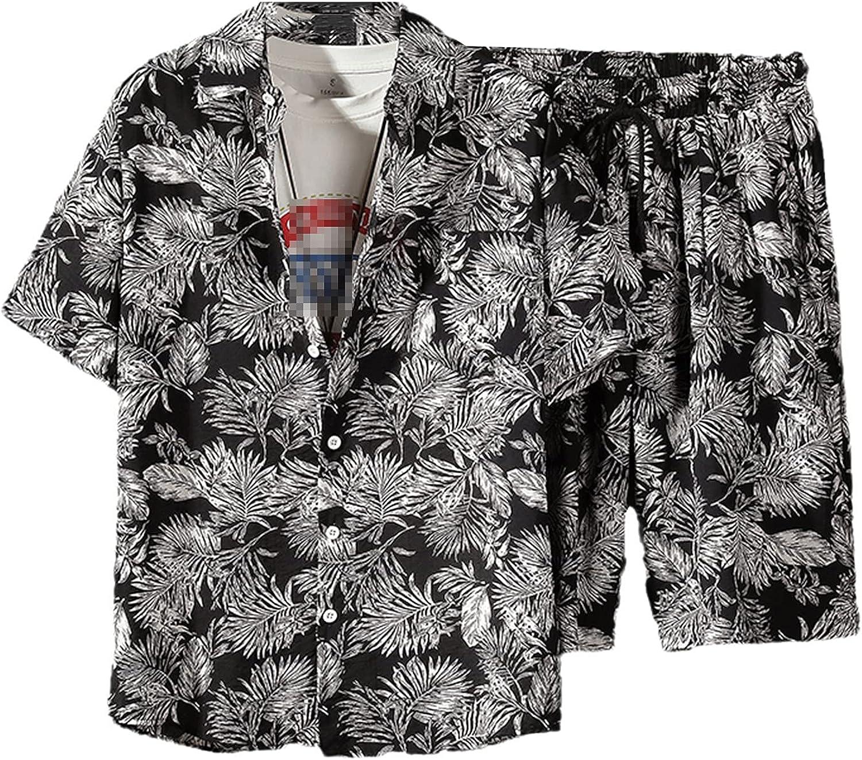 Mens Set Short Sleeve Hawaiian Shirt and Shorts Summer Casual Floral Shirt Beach Two Piece Suit Fashion Men Sets