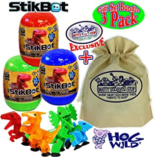 Hog Wild StikBot Dinosaur (Dino) Mystery Egg Figures Gift Set Bundle with Exclusive Matty's Toy Stop Storage Bag - 3 Pack (Assorted)