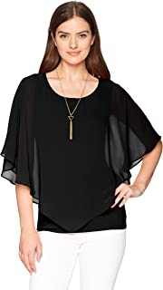 AGB Women's V Front Popover Top with Necklace