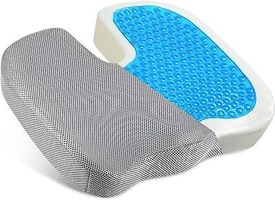 クッション 低反発 座布団 低反発クッション 通気性 蒸れない ジェル内蔵ハイグレードモデル 大きめ 椅子 オフィス 自宅用 洗えるカバー付き