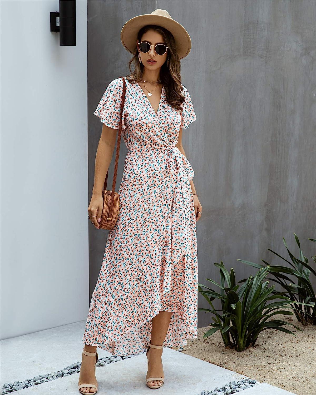 Vintage Style Dresses | Vintage Inspired Dresses ECOWISH Womens Dresses Bohemian Wrap V Neck Short Sleeve Ethnic Style High Split Beach Maxi Dress  AT vintagedancer.com