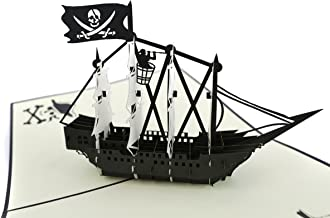 PopLife Black Pirate Ship Pop Up Card for All Occasions - Happy Birthday, Graduation, Congratulations, Retirement, Anniversary, Fathers Day - Treasure Hunters, Ocean Lovers - Folds Flat for Mailing