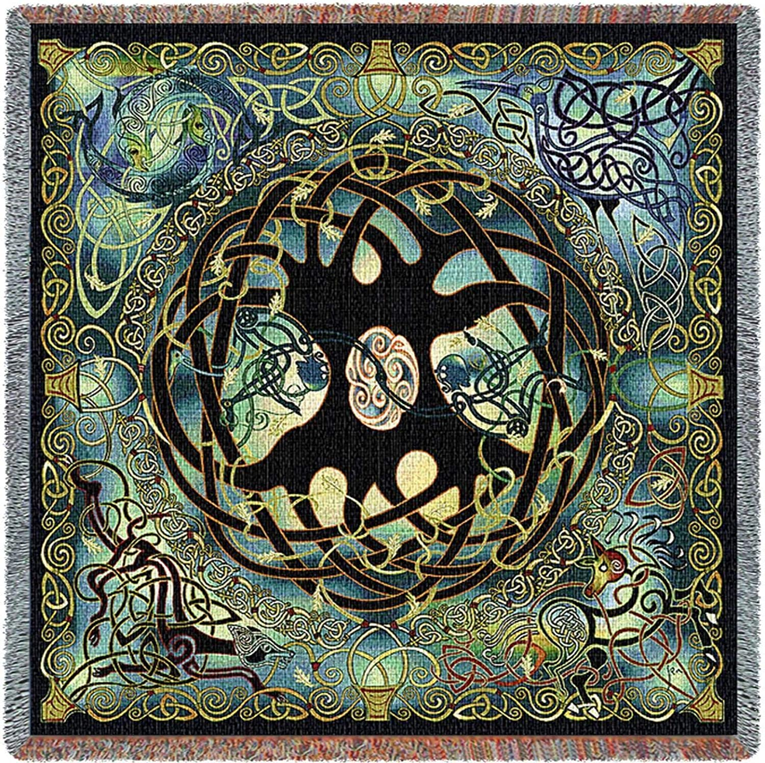 Pure Country Weavers   Irish Celtic Woven Blanket   Tree of Life Tapestry Woven Spirit Animals Cotton USA 54x54