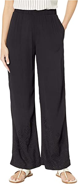 Crepe Woven Pull-On Pants with Embroidery