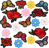 Rose Embroidered Patches For Clothing Flamingo Butterfly Flowers Diy Cloth Decor