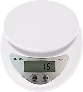 Coby Digital Multifunction Kitchen and Food Scale With TARE Function, 11 Pounds, Modern Winter White