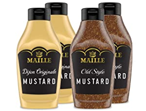 Maille Dijon Mustard Squeeze Condiment Variety Pack Dijon Originale & Old Style Non-GMO, Kosher 8.5 oz 4 Pack