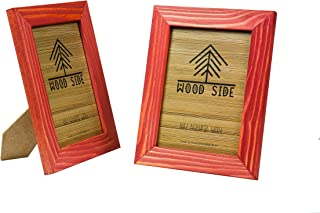 Rustic Wooden Picture Frame 5x7 Inch - Set of 2-100% Natural Eco Barn Wood with Real Glass - Made for Wall Hanging and Tabletop Display - Red