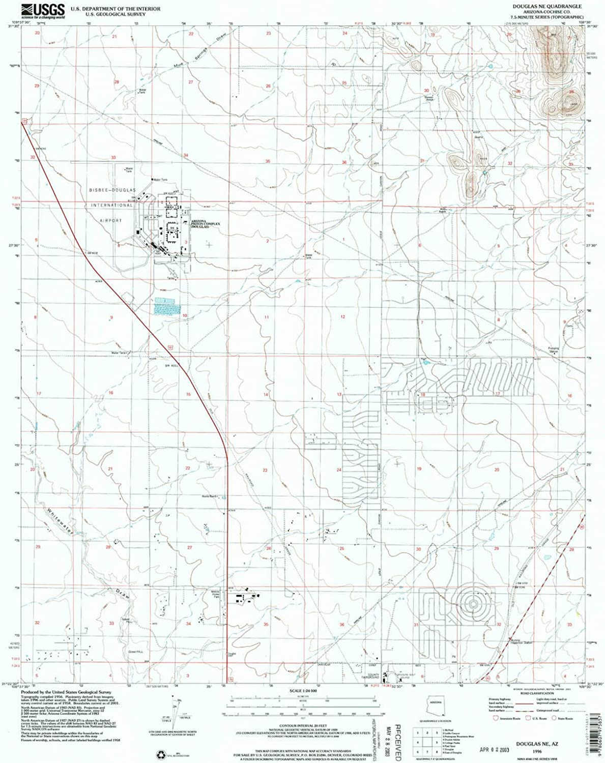 Douglas NE AZ topo map, 1 24000 Scale, 7.5 X 7.5 Minute, Historical, 1996, Updated 2003, 27 x 21.5 in