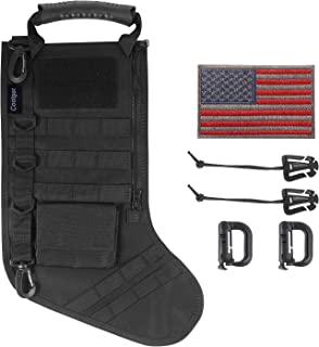 Coolget Tactical Christmas Stocking ,Molle Gear Dump Pouch Storage Bag Military Style Christmas Ornament for Home with Flag D-Ring Carabiner Clips & Elastic Strings 6pcs Pack