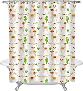 Ashasds Shower Curtain, Cute Mexican Wild Animal Llama Aalpaca Cactus Maracas Firework Saddlery Sombrero Hat Flags Garlands Curtain Polyester Water Fabric with 12 Hooks,72 x 72 Inches