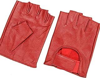 May&Maya Women's Genuine Nappa Leather Fingerless Motorcycle Fashion Driving Gloves