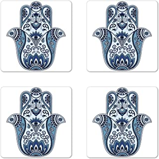 Ambesonne Hamsa Coaster Set of 4, Mystical Civilizations Culture Protective Power Luck Evil Eye, Square Hardboard Gloss Coasters for Drinks, Pale Blue Indigo Baby Blue