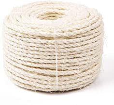 Yangbaga Cat Natural Sisal Rope for Scratching Post Tree Replacement, Hemp Rope for Repairing, Recovering or DIY Scratcher, 6mm Diameter, Come with a Sisal Ball