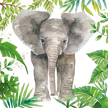 Safari Jungle Lot de 20 serviettes en papier 3 plis Motif girafe tigre /él/éphant z/èbre 33 x 33 cm