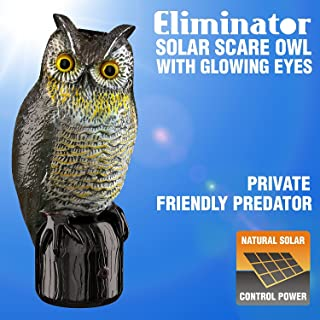 Eliminator Pest Control Scarecrow Owl Decoy Repeller & Deterrent with Scary Lighted Eyes + Frightening Sound – Solar Powered & Motion Activated – Scares Away Birds, Rabbits, Squirrels, Etc. [UPGRADED]