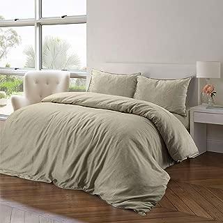 Juego de ropa de cama de algodón y lino, algodón, lino, natural, matrimonio grande