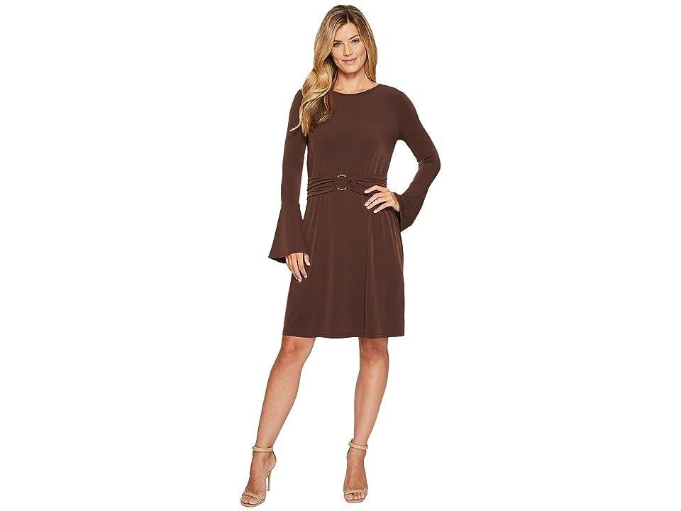 MICHAEL Michael Kors Flare Sleeve Ring Dress (Chocolate) Women