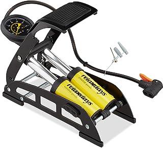 Relaxdays Voetpomp met manometer, alle ventielen, 3 opzetstukken, fiets, bal en luchtmatras, 24 x 32 x 12,5 cm, geel/zwart