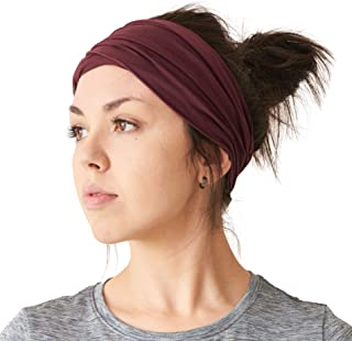 CHARM Mens Womens Elastic Bandana Headband Japanese Long Hair Dreads Head Wrap Maroon