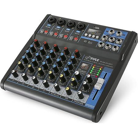 Pyle Professional Audio Mixer Sound Board Console - Desk System Interface with 6 Channel, USB, Bluetooth, Digital MP3 Computer Input, 48V Phantom Power, FX16 Bit DSP- PMXU63BT , Black