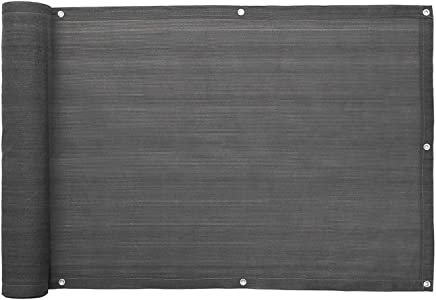 SONGMICS Balkonbespannung Balkonverkleidung Sichtschutz ohne Schrauben aus HDPE 90 x 600 cm anthrazit GBC90GYV1